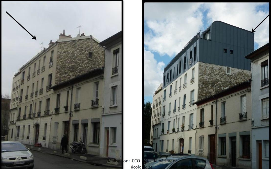 Seine Saint Denis 054 surélévation avant après
